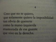 Creo que no te quiero, que solamente quiero la imposibilidad tan obvia de quererte.  Julio Cortázar
