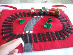 Little train quiet book page idea - looks like they used hot glue...