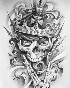 Leading Tattoo Magazine & Database, Featuring best tattoo Designs & Ideas from around the world. At TattooViral we connects the worlds best tattoo artists and fans to find the Best Tattoo Designs, Quotes, Inspirations and Ideas for women, men and couples. Evil Skull Tattoo, Skull Rose Tattoos, Skull Sleeve Tattoos, Body Art Tattoos, Clock Tattoo Design, Skull Tattoo Design, Tattoo Design Drawings, Tattoo Designs, Tatoo Crane