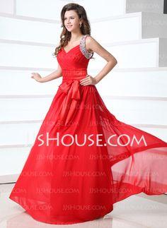 A-Line/Princess V-neck Floor-Length Chiffon Prom Dresses With Ruffle Beading