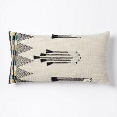 Tassel Stripes Pillow Cover - Stone White