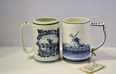 Two Vintage Delft Blue and White Steins Hand by PanchosPorch
