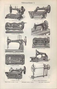 Lithografien 1907: NÄHMASCHINEN. Veritas Pfaff Dürkopp Viktoria Wilcox Gibbs Phö