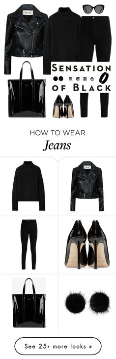 """""""Black"""" by granatina on Polyvore featuring Diane Von Furstenberg, Burberry, Vision, Jimmy Choo, Balenciaga, Gucci, Wild & Woolly, West Coast Jewelry and allblackoutfit"""