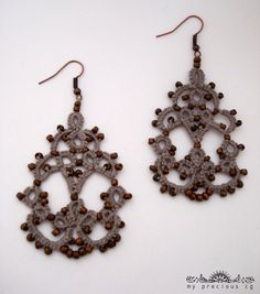 Tatted chandelier earrings in grey with bronze by MypreciousCG
