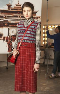 Pattern clash | Check skirt and tank top | School style | Red | Thom Dolan