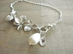 Personalized Initial Leaf with Silver Orchid and by Beazuness, $23.00