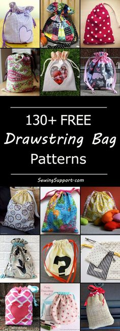 Lots of free drawstring sewing patterns, tutorials, diy projects. Many cute, easy, simple designs to sew for small and large bags. Great for laundry, gym, toys, and gifts. Instructions for how to make a drawstring bag.