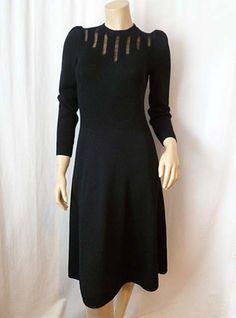 40s inspired dresses | 40s Style Vtg St John Wilshire Bullocks Black Knit Sweater Dress 70s ...