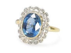 Cornflower Blue Sapphire Diamond Ring  found on Ruby Lane