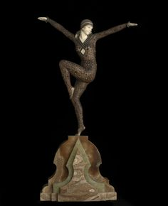 By Demetre Chiparus (1886-1947) was born in Romania. Perhaps as a young man he didn't see a future for himself in Romania so he took himself off to Italy in 1909 to learn with an Italian sculptor. Three years later he was off again, this time to Paris to attend the prestigious Ecole des Beaux Arts. While still only in his 20s, Chiparus started having his name noticed.