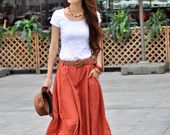 Maxi Skirt Lagenlook Big Pockets Big Sweep Long Skirt in Rose Red Summer Linen Skirt - NC313. $64.99, via Etsy.