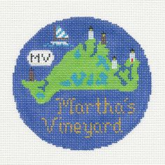 "Silver Needle MARTHA'S VINEYARD handpainted 4.25"" Needlepoint Canvas Ornament"
