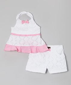 Take a look at the A.B.S. by Allen Schwartz Pink & White Lace Halter Top & Shorts - Infant, Toddler & Girls on #zulily today!