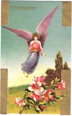 Easter Postcard Embossed Gottschalk Dreyfuss 2004 Angel Peaceful Flowers Germany #Easter