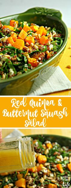 Trying to eat healthier in the New Year? Add more colors to your diet with this Red Quinoa Salad with spinach and butternut squash! This delicious and nutritious winter salad is the perfect addition to your lunch or dinner menu. Healthy Salad Recipes, Lunch Recipes, Appetizer Recipes, Vegetarian Recipes, Red Quinoa Recipes, Farro Recipes, Yummy Recipes, Yummy Food, Tasty