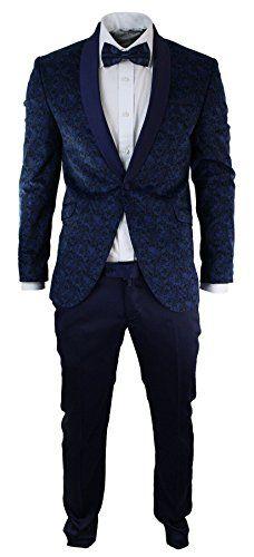 Mens Slim Fit Velvet Paisley Blazer & Trouser Tuxedo Dinner Suit Blue Satin Trim - Royal Hub