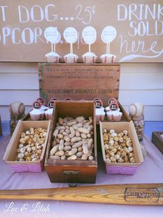 Vintage Baseball Birthday Party snacks!  See more party planning ideas at CatchMyParty.com!
