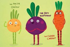 Cute vegetables illustration: the Polite Onion, the Shy Beetroot and the Clever Carrot!