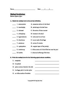 Printables Medical Terminology Worksheet medical terminology quiz 3 urinary system grades 9 12college skeletal at teacherspayteachers httpwww teacherspayteachers
