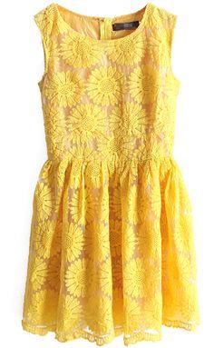 Sunflower Embroidery Bilayer Dress - Sheinside.com