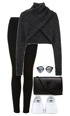 """""""Untitled #1325"""" by laurakaroliina ❤ liked on Polyvore featuring Topshop, Alexander Wang, adidas and Yves Saint Laurent"""