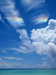 Peaceful Blue Sky with Lovely Rainbow & White Clouds. Scenery Photography, Landscape Photography, Night Photography, Blue Sky Wallpaper, Sky Gazing, Yellowstone Vacation, Sky And Clouds, White Clouds, Sky Aesthetic