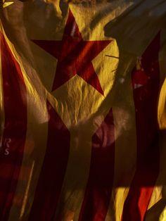 A FC Barcelona fan holds an Estelada flag before the Copa del Rey Final match between FC Barcelona and Sevilla FC at Vicente Calderon Stadium…