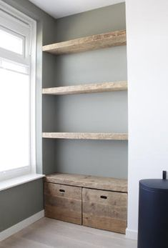 Shelves in a niche - Van Oud Hout furniture maker - 11942 , Home Living Room, Living Room Decor, Home Decor Furniture, Home Projects, Shelving, New Homes, Style At Home, Home Fashion, House Design