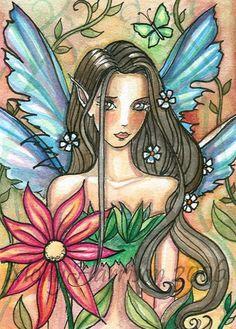 Fairy Art: aceo Faun by Artist Molly Harrison Fantasy Creatures, Mythical Creatures, Fairy Paintings, Elves And Fairies, Artwork Images, Flower Fairies, Fairy Art, Art Portfolio, Illustrations