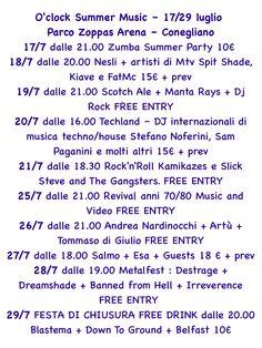 10 serate di musica e intrattenimento sotto le stelle!! Ecco tutto il programma di O'clock Summer Music con orari e prezzi!!! 17/29 luglio - Parco Zoppas Arena - Conegliano