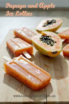 Papaya and apple ice lollies - perfect for summer and made purely of fresh