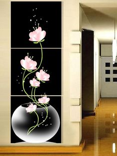 Flowers Blooming in the Vase Printed Wall Art Canvas Paintings - COLORFUL 3PC:16*16 INCH( NO FRAME )