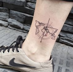 World map tattoo by Isabel Barcelona