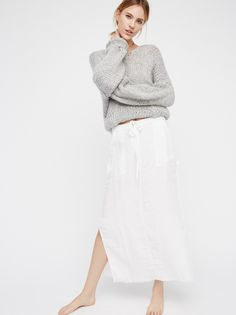 City Streets Linen Maxi Skirt | All linen, borrowed-from-the-boys maxi skirt featuring an easy drawstring tie at the waist. Four large pocket details and side vents. Unfinished hem for a lived-in look. Zipper fly.