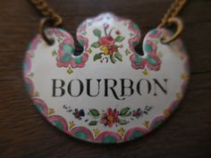Vintage Bilston & Battersea Made in England Designed By Halcyon Days London Bourbon Bottle Decanter Label Enamel Pretty 1950s to 1960s by KimsKreations17 on Etsy $34.99