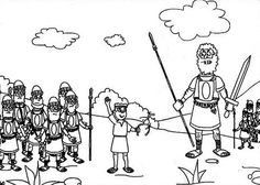David And Goliath The Battle Elah Valley Coloring Page Free