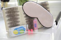 2/6 travel essentials: hand & face wipes, ear plugs, chapstick, silk eye mask