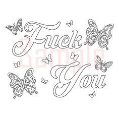 Sweary Coloring Page Fck You-1 Swearing Coloring by SueSwears