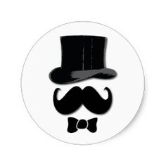 mustache, top hat, bow tie and pearls round stickers