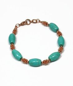 Turquoise and Copper Bracelet by AussenWolfDesigns on Etsy, $22.00