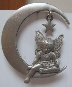 Jonette Jewelry Vintage Angel Moon pin brooch on ETSY Unique Gifts For Men, Moon Jewelry, Jewelry For Her, Vintage Signs, Brooch Pin, Costume Jewelry, Vintage Jewelry, Necklaces, Bracelets