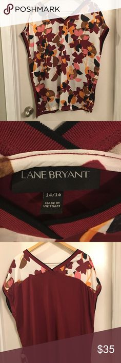 Layne Bryant Print Blouse Pretty Lane Bryant Printed Blose. The front part of the blouse is of a silky material. The back part is cotton. Lane Bryant Tops Blouses