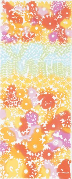 Japanese Tenugui Towel Cotton Fabric, Flower Garden, Floral Abstract Art Wall Hanging, Wall Decor, Feminine Home Decor, Scarf, Headband, JapanLovelyCrafts