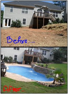 Amazing before and after landscape remodel with mountain lake style pool. Small Backyard Pools, Backyard Pool Landscaping, Backyard Play, Backyard Patio Designs, Swimming Pools Backyard, Swimming Pool Designs, Landscaping Ideas, Backyard Ideas, Hillside Pool