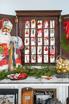 Hung inside an old hotel key cabinet, numbered gift tags adorned with tiny ornaments make for a home... - Jean Allsopp