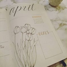 "Starting my first bullet journal. Using a @leuchtturm1917 and I love it. Not very good at drawing ""real"" flowers, so thank god for Pintarest! #bulletjournal #bujo #bulletjournaling #leuchtrum1917"