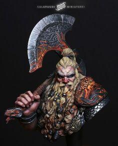 Volkan Lostblood - Galapagos-miniatures Fantasy Dwarf, 3d Fantasy, Fantasy Races, Fantasy Warrior, Medieval Fantasy, Fantasy Portraits, Character Portraits, Fantasy Inspiration, Character Inspiration