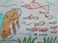 Kindergarteners in #Minnesota paint manatees and other sea creatures!  #maplegrove