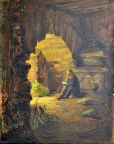 SALVADOR RODRIGUES JR - (1907 - 1995)    Título: Lendo  Técnica: óleo sobre tela  Medidas: 50 x 40 cm  Assinatura: canto inferior esquerdo